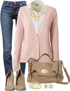 """""""Cable V Neck Cardigan"""" by amandagrace18 ❤ liked on Polyvore"""