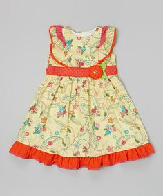 Look at this #zulilyfind! Yellow & Red Floral Broad Collar Dress by Donita #zulilyfinds