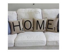 Items similar to HOME Scrabble Pillows - Inserts Included // Big Scrabble Tile Pillows // Scrabble Letters // Giant Scrabble Tiles // Home Sweet Home on Etsy Contemporary Pillows, Scrabble Letters, Scrabble Board, Scrabble Tiles, Scrabble Coasters, Scrabble Crafts, Deco Design, My Living Room, Handmade Home Decor