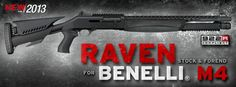 "ATI introducing Raven furniture for Benelli M4 shotguns : For one of their first ""New for 2013″ product announcements, Advanced Technology International is showing off a new set of stylized, heavily-featured accessories for the Benelli M4. Called Raven, they are designed to help deal with the recoil of full-house 12-gauge loads, add functions to the stock M4, and to look mean."
