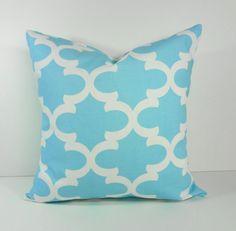Moroccan Quatrefoil Mint Blue Pillow Cover, Ocean Blue, Apache Blue Throw Pillow Cushion Cover