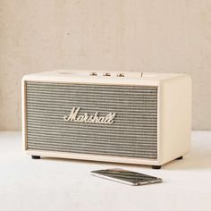 Marshall Stanmore Wireless Speaker by: Urban Outfitters @Spring Product Sku: 40347668; Color Code: 012 The Stanmore is a compact active stereo speaker that yields clean and precise sound even at high levels. Stanmore's classic design is a throwback to the golden days of rock'n'roll, and its analogue interaction knobs give you custom control of your music. Hook it up wirelessly via the latest version of Bluetooth, featuring aptX technology, use the RCA input to plug in your record player, or…