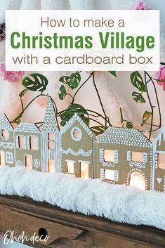 Use a cardboard box to make a cute Christmas village. It's an easy holiday craft you can make with a few supplies, perfect to entertain the kids. Once the houses of your gingerbread village are done, place a cord light on the back and light it up at night to create a nice Christmas decoration. #diy #Christmas #houses #idea #recycle Christmas Crafts To Make, Christmas Houses, Simple Christmas, Holiday Crafts, Gingerbread Village, Christmas Gingerbread, Interior Design Ikea, Interior Designing, Triangles