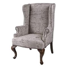 Wing Arm Chair in Tan and Brown