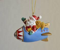 Vintage, Vintage Ornament,Vintage Christmas,Santa Claus,Santa  airplane,Santa and dog,Christmas dog,Christmas Santa by HoneyQueenBee on Etsy