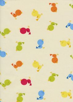 Tossed Birds Butter Fabric  Half Yard by luckykaerufabric on Etsy (Craft Supplies & Tools, Fabric, timeless treasures, yellow, butter, bird, baby, blue, green, orange, red)