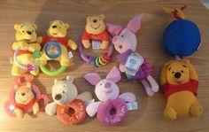 Winnie the Pooh & Piglet Baby Plush Crib Toys Rattles Teethers Disney