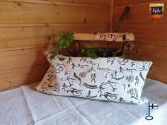 Samuli-saunatyynyn päällinen Kalliomaalaus n. 26x52 cm - by itu - Itu, Throw Pillows, Design, Toss Pillows, Cushions, Decorative Pillows, Decor Pillows, Scatter Cushions