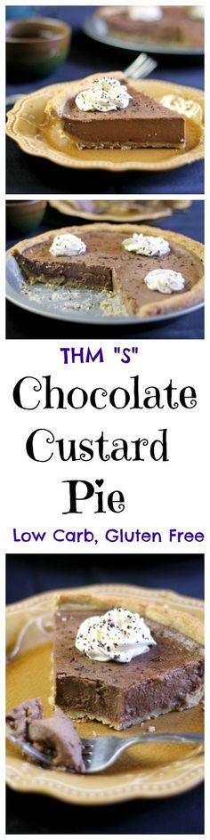 """Low Carb and Gluten free this Chocolate Custard pie is rich and creamy. The perfect dessert. THM """"S"""""""