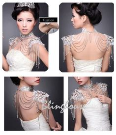Handmade victoria style rhinestone shoulder necklace /bridal jewelry / bridal accessories. $388.00, via Etsy.