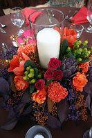 Wedding, Flowers, Reception, Pink, Bouquet, Centerpiece, Orange, Decor, Purple, La partie events, Boutonniere, Bridal, Fall, Bridesmaid, Candle, Burnt, Dark, Colorful, Hidden chateau and gardens, Artichoke