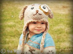 Handmade crocheted puppy dog hat for kids