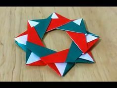 クリスマスリース 折り紙 折り方 難易度★★☆ How to fold origami Christmas wreath - YouTube