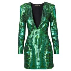 BALMAIN H&M Green Sequin Cocktail mini  dress US 4 BALMAIN x H&M. Short, fitted dress in woven fabric embroidered with sequins in various shades. Low-cut V-neck with concealed silicone trim inside neckline to help keep dress in place. Shoulder pads, chunky, gold-colored zip at back, and long sleeves with zips at cuff. Lined. 100% polyester.Dry clean only New with tags.   Size US 4-6 Euro 36 UK 10  H&M sizes small with their new charts, 36 euro is a small 6, or a 4. Balmain Dresses Mini