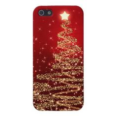 Elegant Christmas Sparkling Trees Red Case For iPhone 5 #christmas #iphone5