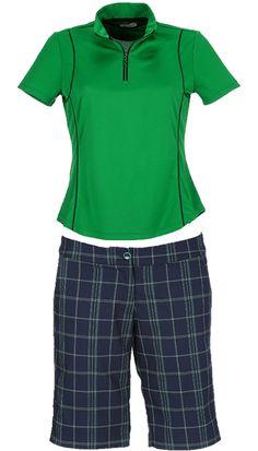 Greenbrier Greg Norman Ladies & Plus Size Emerald & Navy Golf Outfits (Shirt & Short) at #lorisgolfshoppe