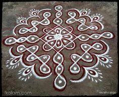Rangoli Rev's chikku kolam 68. 9 to 1 straight dots. | www.iKolam.com