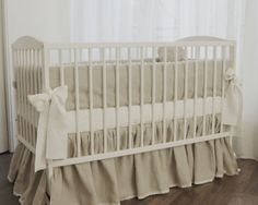 Linen Crib Bedding - Gathered Skirt And 4 Side Bumper
