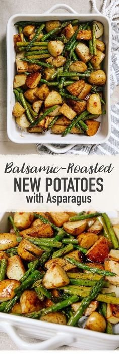 Balsamic Roasted New Potatoes with Asparagus - a tasty dinner party side dish potato al horno asadas fritas recetas diet diet plan diet recipes recipes Good Healthy Recipes, Healthy Foods To Eat, Diet Recipes, Cooking Recipes, Vegetarian Recipes, Recipes Dinner, Healthy Cooking, Vegetarian Italian, Cooking Games