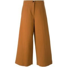 Vivetta Corca Culottes (3,230 MXN) ❤ liked on Polyvore featuring pants, capris, brown, wide leg trousers, zipper pants, brown pants, zip pants and vivetta
