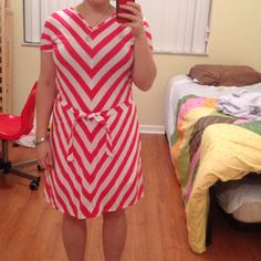 Jersey Chevron Dress from the onelittleminuteblog.com tutorial. I made mine w a belt rather than elastic gathering bc I thought it would be more flattering on me. The color is a bit more pink than the red I wanted, but it came out nice and fits well. I got a white tennis skirt to wear underneath bc it would be quite see-through otherwise. Fabric was from girlcharlee.com, but I see it is no longer available.
