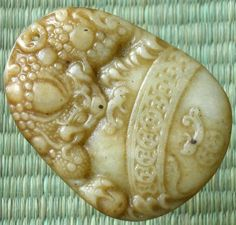 Chinese Old Jade Hand Carved Ferocity Imperial Dragon Coins Fortune Pendant BH21