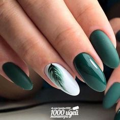 September Nail Colors / Gorgeous & Cutie Gel Manicure Creative Nail Designs for Short Nails to Create Unique Styles. Dark Green Nails, White Gel Nails, Green Nail Art, Cute Acrylic Nails, Acrylic Nail Designs, Cute Nails, Pretty Nails, My Nails, Gel Manicure Designs