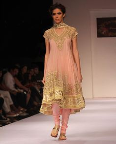Barely Pink Kalidar Suit with Gota Work  by Preeti S. Kapoor