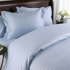 600 TC Super Soft 100/% Egyptian Cotton Bedding 3 Piece Set Duvet Cover With Two Pillowcase Cot Bed Size Egyptian Blue Stripe