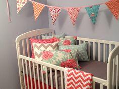 Coral and grey crib bedding