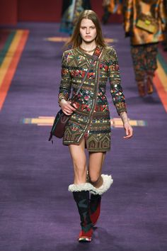 """Veronica Etro presented a travel-spirited collection for the Fall Winter 2017 season. """"I tried to do something joyful, full of collision and color explosion. It's a festival of the world, not set r…"""