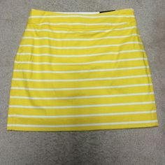 "NWT! Yellow stripe Banana Republic skirt NWT!! Gorgeous yellow strip skirt! Perfect for spring. Side zipper. Size 6. Lined. She'll is 98% cotton. 2% spandex.  Machine wash cold. Line dry. BR outlet. 16.5""L. Banana Republic Skirts Mini"