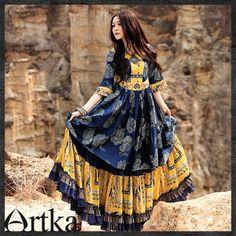 Artka*spring colorful yellow blue ethnic smart swing dress A06597 | ArtkaFashion - Clothing on ArtFire