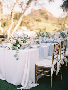 Pastel al fresco wedding table decor: http://www.stylemepretty.com/2016/11/25/malibu-destination-wedding/ Photography: Esther and Sun - http://www.esthersunphoto.com/