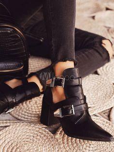 Black Summer Boots Women Pointed Toe Metal Details Block Heel Short Boots - Milanoo.com Spring Heels, Summer Boots, Spring Summer, Thick Heel Boots, Heeled Boots, Women's Boots, Doc Martens Boots, Snow Boots Women, Motorcycle Boots