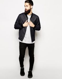 All black with white collarless shirt