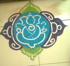 Simple Ganesh Rangoli Designs for Diwali