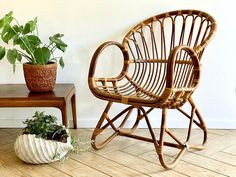 I kinda like the idea of a bamboo armchair for the living room (with cushions obvi). Ikea has some reasonable options similar to this! Rattan Armchair, Living Room Seating, Sell Items, Wicker, Accent Chairs, Bamboo, Mid Century, Furniture, Etsy