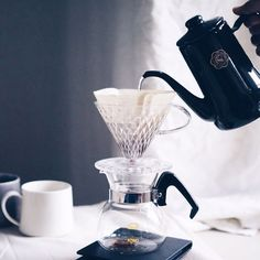 """Experience Key Coffee's Crystal Dripper with its patented """"diamond cut"""" shape ridges to give optimum extraction  for your pour-over coffee.  Available in our web store now. www.kurasu.me"""