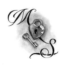 Awesome - Tattoo Flash. Want my heart necklace duplicated and key necklace with K G. In memory of my husband on back of neck.
