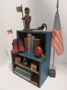 DELIGHTFUL-SM-VERY-PRIMITIVE-MAKE-DO-DOLL-STEPBACK-CUPBOARD-OLD-BLUE-AAFA