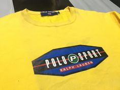 6f264122b43 Vintage Polo sport sweatshirt Pepsi logo spell out polo sport ralph lauren  Bright Yellow Size L Excellent condition