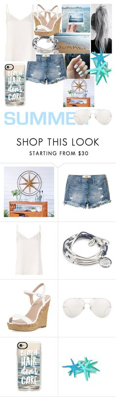 """""""wave summer goodbye"""" by annabethjames ❤ liked on Polyvore featuring Improvements, Hollister Co., L'Agence, Lizzy James, Charles by Charles David, Linda Farrow and Casetify"""