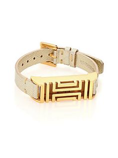 Tory Burch - Tory Burch For Fitbit Metallic Textured Leather #Bracelet / Goldtone.