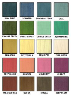 Minwax Solid Color Stain Chart Paint Everything Pinterest Wood
