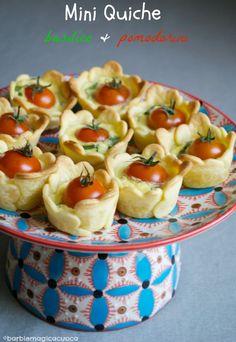 mini quiche basil and tomatoes
