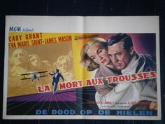 NORTH BY NORTHWEST (Alfred Hitchcock) OLD BELGIAN MOVIE POSTER (1959)