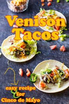 Venison Tacos or Tostadas by Binky's Culinary Carnival is super easy and can be done completely in the slow cooker with no pre-browning required! Loaded with incredibly tender venison and bursting with flavor, this tasty dish can be assembled as tacos or even tostadas. They work great as a weeknight dinner for your family and will quickly become a favorite! #cincodemayo #venisontacos Healthy Italian Recipes, Delicious Dinner Recipes, Mexican Food Recipes, Beef Recipes, Vegetarian Recipes, Slow Cooker Venison, Venison Burgers, Holiday Recipes, Holiday Foods