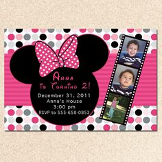 Printable Personalized Minnie Mouse Inspired Birthday Party Card Invitations Hot Pink Polka Baby Shower Digital 1st 2nd 3rd. $12.99, via Etsy.