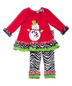 Love this Red Snowman Tunic & Zebra Leggings - Toddler & Girls on #zulily! #zulilyfinds